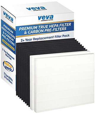 VEVA 2 Premium True HEPA Filter Including 8 Carbon Pre Filters Compatible with AP-1512HH CW Air Purifier (2+ Year Value Pack) Advanced Filters