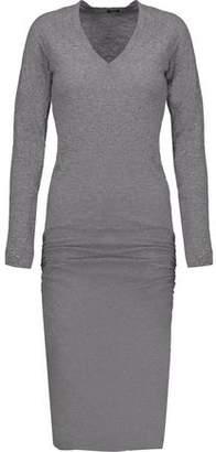 Monrow Gathered Slub Stretch-Jersey Midi Dress