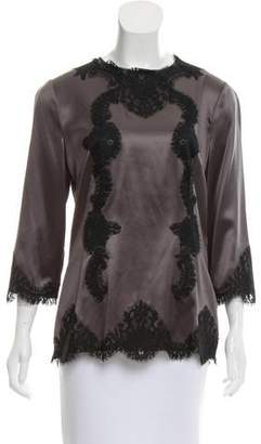 Dolce & Gabbana Lace-Trimmed Silk Blouse w/ Tags