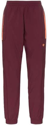 adidas burgundy triple stripe track pants