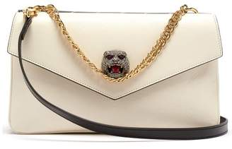 Gucci Thiara Gg Panther Head Cross Body Bag - Womens - Black White