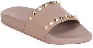Valentino Rockstud Pool Slide Sandals