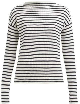 Allude Boat Neck Striped Cotton Sweater - Womens - Navy Stripe