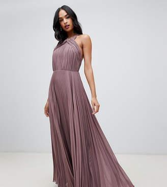 Asos Design DESIGN pleated bodice halter maxi dress