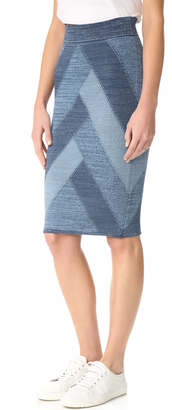 BCBGMAXAZRIA Patchwork Denim Skirt $198 thestylecure.com