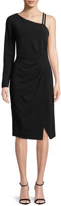Rachel Roy Asymmetric Side Ruched Midi Dress