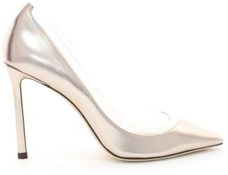 Jimmy Choo ROMY 100 Platinum and Clear Pointy Toe Pumps in Metallic Nappa and Plexi
