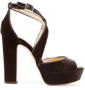Jimmy Choo April 120 Grosgrain-trimmed Velvet Platform Sandals