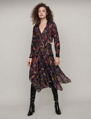 Maje Printed-cotton scarf dress