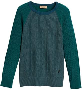 Burberry cashmere two-tone cable knit sweater