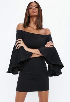 Missguided Black Denim Frill Sleeve Dress