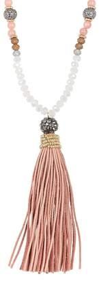Natasha Accessories Bead Embellished Tassel Drop Necklace