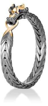 John Hardy Sterling Silver & 18K Bonded Gold Legends Naga Medium Bracelet with Black Rhodium & Blue Sapphire Eyes