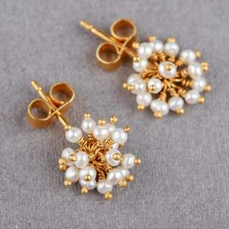 Kate Wood Jewellery Pearl Pompom Stud Earrings