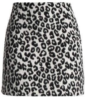 Maje Leopard-Print Felt Mini Skirt