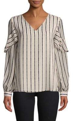 Calvin Klein Striped Long-Sleeve Blouse
