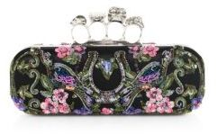Alexander McQueen Alexander McQueen Floral-Embroidered Satin Knuckle Clutch