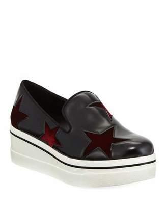 Stella McCartney Binx Velvet-Star Platform Sneakers