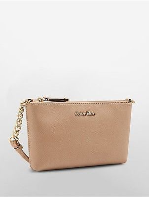 Calvin Klein Calvin Klein Womens Saffiano Leather Crossbody Bag Nude