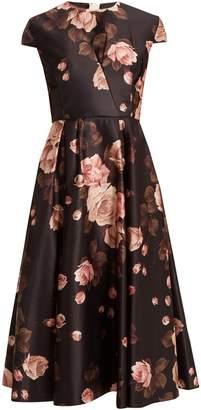 Rochas Rose-print duchess-satin A-line dress