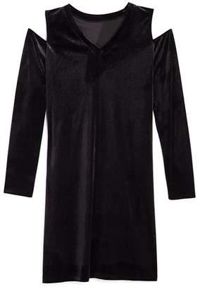 Aqua Girls' Velvet Cold-Shoulder Shirt Dress, Big Kid - 100% Exclusive