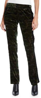 Pam & Gela Side-Stripe Camo-Print Velour Track Pants