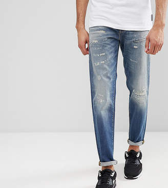 Selected Jeans In Tapered Fit With Rip Repair Italian Denim