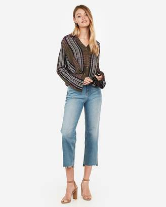 Express Plaid Twist Front Shirt