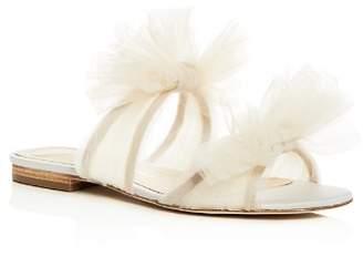 Isa Tapia Women's Nicoletta Tulle Bow Slide Sandals