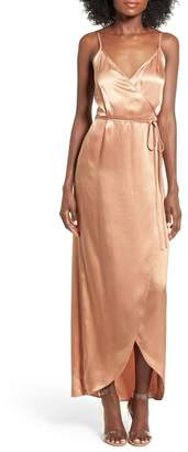 WAYF Teagan Satin Wrap Maxi Dress