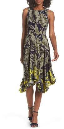 Maggy London Leaf Print Dress