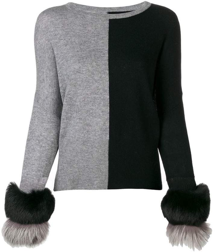 Izaak Azanei two-tone fur cuff sweater