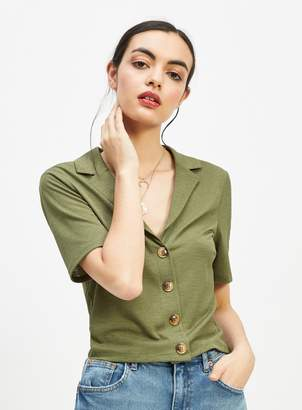 Miss Selfridge Khaki Collar Neck Button Through Shirt