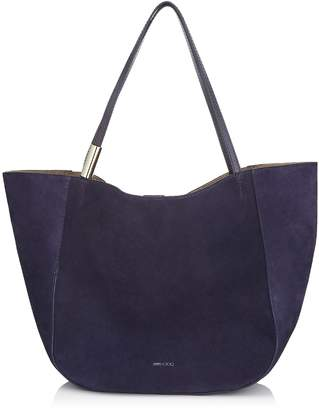 Jimmy Choo STEVIE TOTE Navy Suede and Elaphe Tote Bag