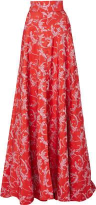 Brandon Maxwell High-Waisted Jacquard Ball Skirt