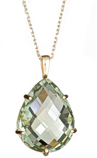 Anzie Green Amethyst Pear Pendant Necklace