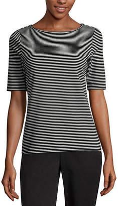WORTHINGTON Worthington W Elbow Slv Tee Elbow Sleeve Boat Neck T-Shirt-Womens