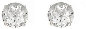5mm Round Semi-Precious Gemstone Stud Earrings,14K White Gold