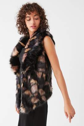 Urban Outfitters Faux Fur Collared Multicolored Vest