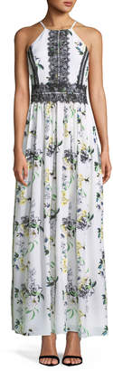 Tahari ASL Lace-Trimmed Floral-Print Maxi Dress