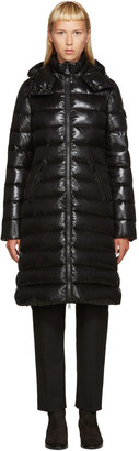 Moncler Black Down Long Moka Coat $1,090 thestylecure.com