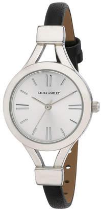 Laura Ashley Ladies' Black Thin Strap Silver Case Watch