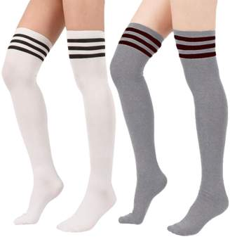 e2bf41dbc Zando Women s Triple Stripe Casual Over the Knee Thigh High Long Stocking  Socks Sporty Over Knee