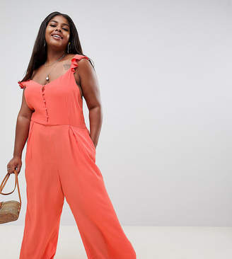 Glamorous Curve cami jumpsuit with button front