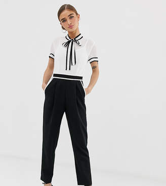 8a86fb8bcc Paper Dolls Petite petite two in one jumpsuit with chiffon blouse and  tailored pants in mono