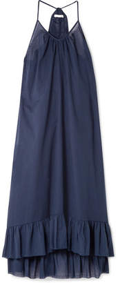 Skin - Blakey Ruffled Cotton-voile Midi Dress - Indigo
