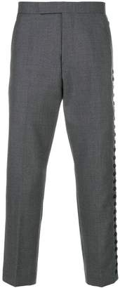 Thom Browne Button-Up Side Seam Solid Wool Twill Mid-rise Trouser