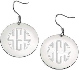 Steel By Design Stainless Steel Polished Engravable Disc Dangle Earrings