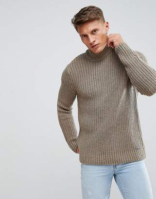 Esprit Chunky Knit Sweater With Roll Neck In Stone