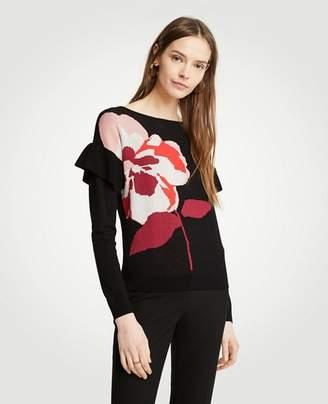 Ann Taylor Floral Flounce Sleeve Sweater
